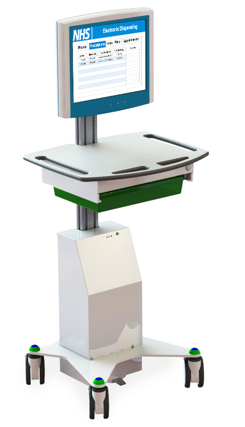 Mobile Tablet Workstation - Hygia VHA Tablet Cart